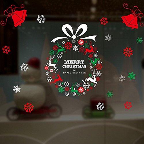 Adornos Navideños Papá Noel Tire de la Pasta de Vidrio Pegatinas de Ventana Grande Pegatinas de Puerta de Vidrio de Pasta...