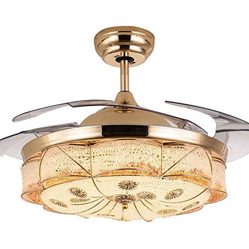 Huston Fan European Luxury Style Invisible Ceiling Fan Living Room Restaurant Bedroom Ceiling Light Chandelier Home Energy Chandelier Fan Saving LED Gold (36inch) by Huston Fan (Image #2)