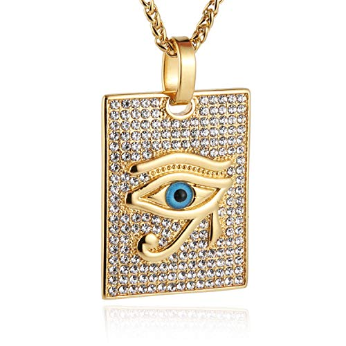 HZMAN 18k Gold Plated Iced Out Eye of Horus Egypt Protection Dog Tag Pendant Stainless Steel Necklace (Blue - Eye)