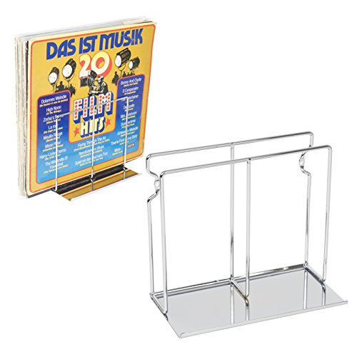 WALLNITURE Vinyl Record Album Collection Wall Mounted Display Shelf Rack Steel Chrome Set of 2