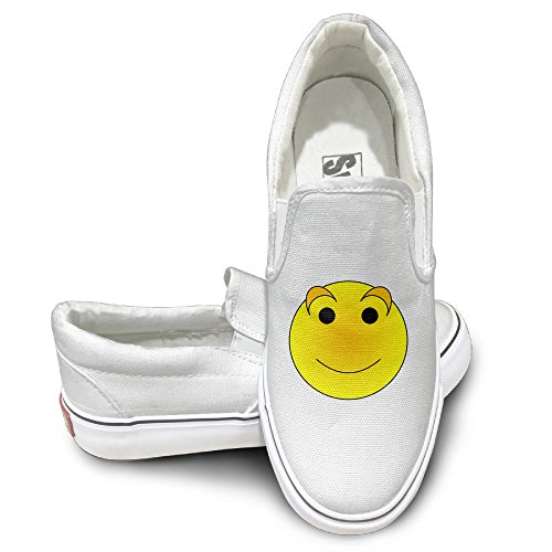 Claudia Unisex Slip-on Shoes Funny Face Canvas Sneaker 38 White