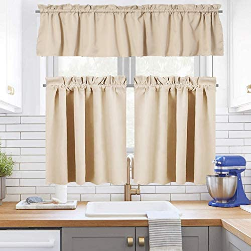 Juya Delight Window Blackout Curtain 3 Piece Kitchen Tier Curtains and Valance Set for Cafe and Bathroom,52 x14 Valance,2 Set of 28 x36 Tiers,Biscotti Beige