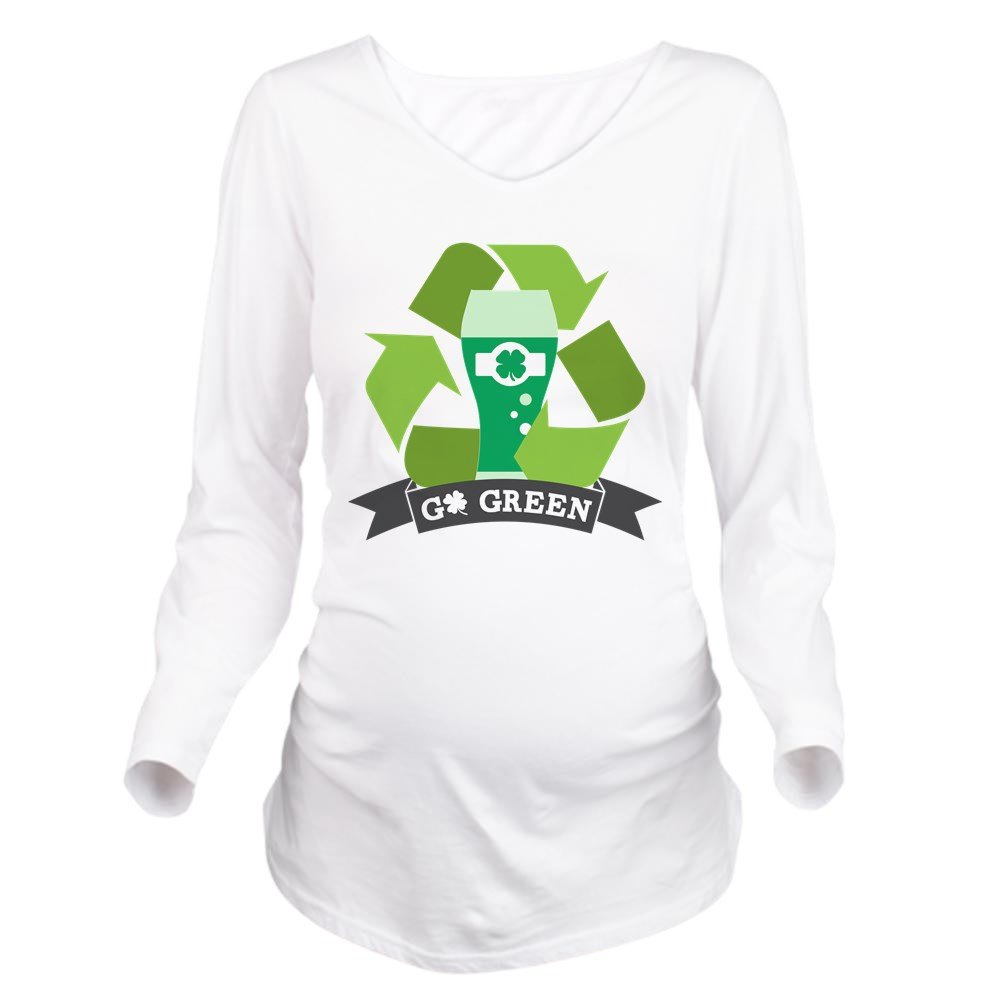 CafePress Go Green Long Sleeve Maternity T-Shirt, Cute and Funny Pregnancy Tee