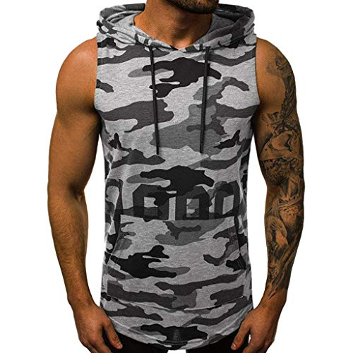 Luca Men's Tops Vest Blouse Summer Casual Camouflage Print Hooded Sleeveless T-Shirt ()