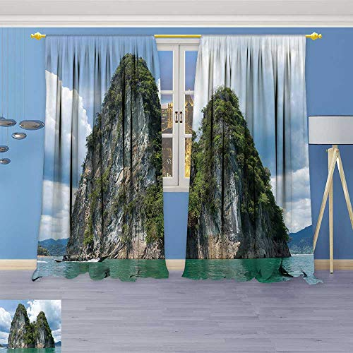 (SOCOMIMI Room Darkening/Thermal Insulated Grommet Window Curtains khao sok National Park Epic Limestone Cliffs RIS from Green Lake dur Idyllic Set of Two Panels 120W x 84L inch)