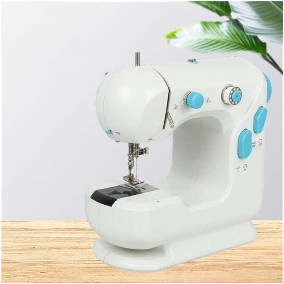 Huabei2 Máquina de Coser Multifuncional Miniatura Doble Hilo de Coser Mini máquina de Coser máquina de Escritorio Máquina de Coser eléctrica (Color : White)