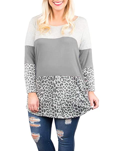 6fd3b680ecd Rotita Women Back Lace Color Block Tunic Tops Plus Size Long Sleeve Leopard  Print T-Shirt Blouse at Amazon Women s Clothing store