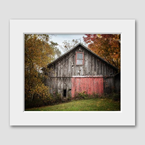 Red Door Photo (Rustic Farmhouse Decor Matted 8x10 Barn Print for 11x14 Frame Barn with the Red Door)