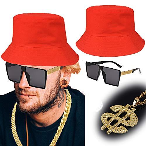 ZeroShop 80s/90s Hip Hop Costume Kit - Cotton Bucket Hat,Gold Chain Beads,Oversized Rectangular Hip Hop Nerdy Lens Sunglasses (OneSize, Red1)