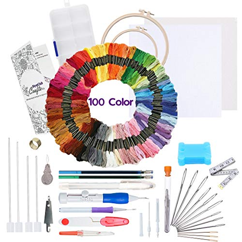 Punch Needle Embroidery Kit for Beginners-Cross Stitch Kits for Starter Adults-Needlepoint Supplies-Magic Pen Full Set with 100 Color Threads,2 Hoops, 2X Emb. Cloths & Instructions-DIYerClub Crafts