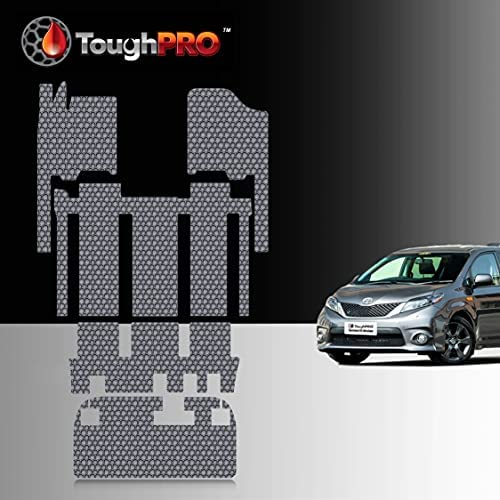 TOUGHPRO Floor Mat Accessories Full Set + Storage Compatible with Toyota Sienna (7 Seater) – All Weather – Heavy Duty – Gray Rubber – 2011, 2012, 2013, 2014, 2015, 2016, 2017, 2018, 2019, 2020