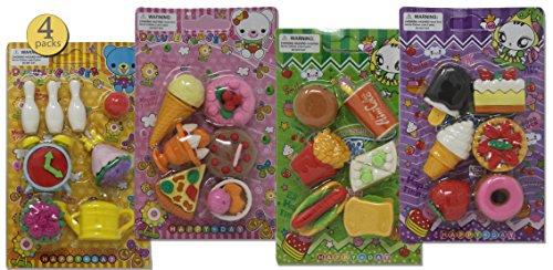 4 Packs - Pull-apart Erasers, Japanese Erasers, Puzzle Erasers for Kids, Take-Apart Erasers for Boys and Girls, Food Variety Pack, Desserts, Cake, Ice Cream, Fast Food, 26 Pcs of Various Sizes - Bulk -