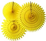 Hanging Honeycomb Tissue Fan, Yellow, Set of 3 (13 inch, 18 inch, 21 inch)