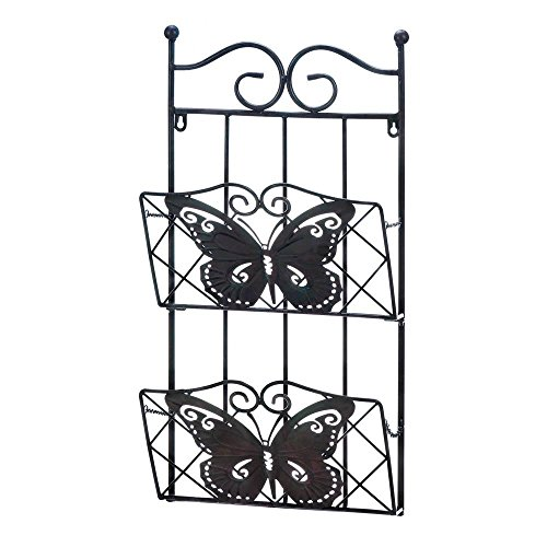 Accent Plus Wall Mounted Mail Rack, Butterfly 2-tier Magazine Decorative Mount Wall Mail Rack by Accent Plus