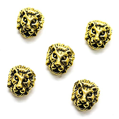Beads Lion - HUELE 30Pcs Metal Lion Head racelet Necklace Connector Charm Beads for Bracelet Jewelry Earrings Making (Antique Gold)