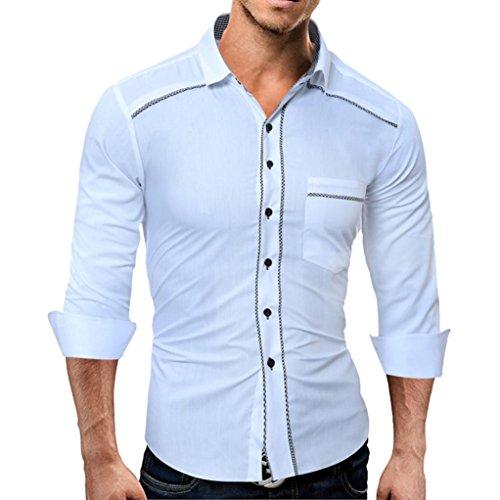 Willsa Men's Shirt, Fashion Pure Color Male Casual Long Sleeve Shirt Cotton Soft Slim Fit Dress Shirt (Turtleneck Ringspun Long Sleeve)