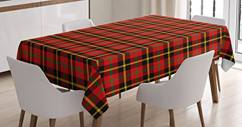 Retro Tablecloth by Ambesonne, Traditional Scottish Tartan Pattern Classic Symmetric Vintage Checkered Striped Tile, Dining Room Kitchen Rectangular Table Cover, 60W X 90L Inches, Multicolor (Room Dining Tables Classic)