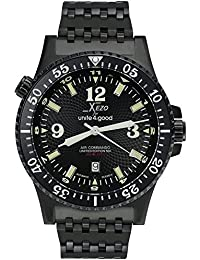 Men's Air Commando D45-BL Japanese-Automatic Diver's Pilots Watch. 2nd Time Zone. 200M WR. Black PVD Titanium Carbide Coated