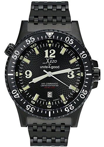 Xezo Men's Air Commando D45-BL Japanese-Automatic Diver's Pilots Watch. 2nd Time Zone. 200M WR. Black PVD Titanium Carbide ()