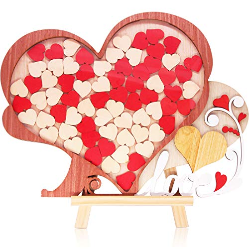 Creawoo Wooden Wedding Guest Book Alternative Unique Heart Drop Box Design - Wedding Guest book Gift Idea, 72pcs Hearts Guest's Signature.