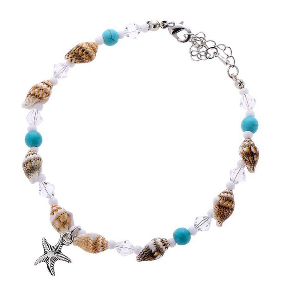MJARTORIA Femme Bijoux Bracelet de Cheville Conch Étoiles de Mer Boho Vintage