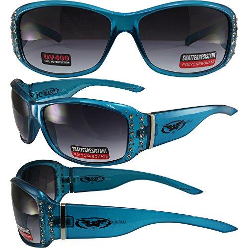 Global Vision Marilyn 10 Motorcycle Sunglasses Translucent Blue Rhinestone Decorated Frames Gradient Smoke - Marilyn Sunglasses