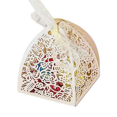 YOZATIA 50pcs Laser Cut Rose Gift Boxes with 50 Ribbons, 2.6''x2.6''x2.8'' Favor Boxes for 16 Birthday Party Wedding Favor (Ivory)
