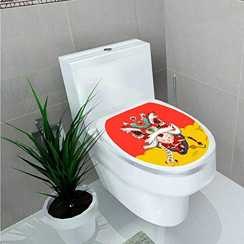 Jiahonghome Toilet Seat Wall Stickers Paper New Year's New Year Doll Decals DIY Decoration W13 x -