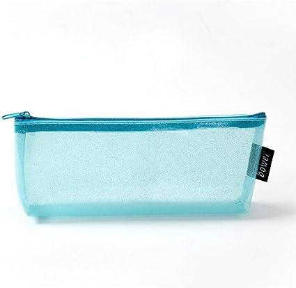 Estuches Azul Láser Transparente Estuche de Lápiz de PVC Kawaii bolso de la muchacha linda caja grande de la pluma holograma estilo I Estuche de lápices escuela: Amazon.es: Oficina y papelería