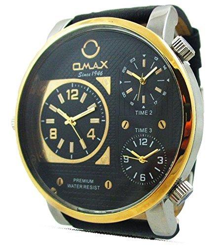 Online Soko Omax para hombre reloj con piel de color negro MultiTime Zone analógico de estilo