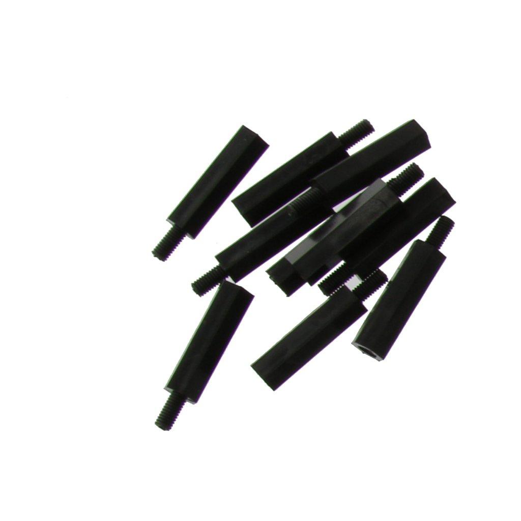 180x M3 Kit de Tornillo Tuerca con Arandela de Nylon Hexagonales en Caja Negra
