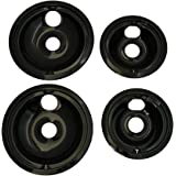 KITCHEN BASICS 101 WB31M20 and WB31M19 Replacement Range Cooktop Porcelain Drip Pans for GE - Includes 2 6-Inch and 2 8-Inch