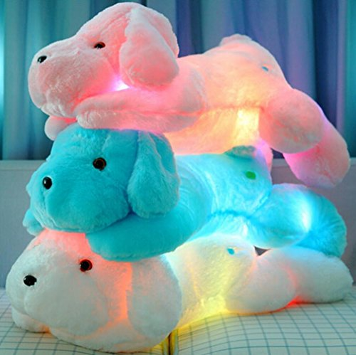 Wewill Creative Night Light LED Stuffed Animals Lovely Dog Glow Plush Toys Gifts for Kids 18-Inch (Blue)