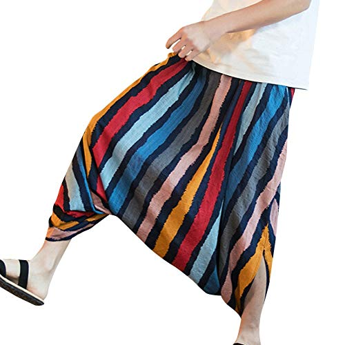 s KpopBaby Harem Pants Cotton Linen Festival Baggy Stripe Trousers Retro Gypsy Pants ()