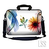 """LSS 17 inch Laptop Sleeve Bag Notebook with Extra Side Pocket, Soft Carrying Handle & Removable Shoulder Strap for 16"""" 17"""" 17.3"""" 17.4"""" Apple MacBook Air, GW, Acer, Aspire Asus, Dell, HP, Sony, Toshiba, Samsung - Daisy Flower Leaves Floral"""