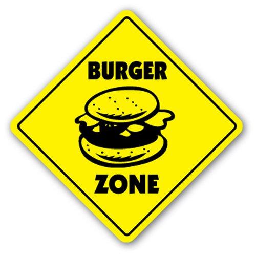 - [SignJoker] BURGER ZONE Sign hamburger signs cart stand ham neon Wall Plaque Decoration