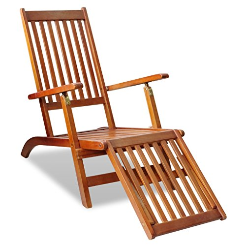 Festnight Outdoor Foldable Chaise Lounger Chair with Footrest Acacia Wood Hardwood Chaise Lounge
