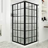 SUNNY SHOWER Double Sliding Shower Door with 1/4 in. Clear Glass Corner Shower Enclosure, 2 Fixed Panels & 2 Sliding Shower Glass Panels, 36 in. x 36 in. x 72 in. Black Color, Shower Base Not Included