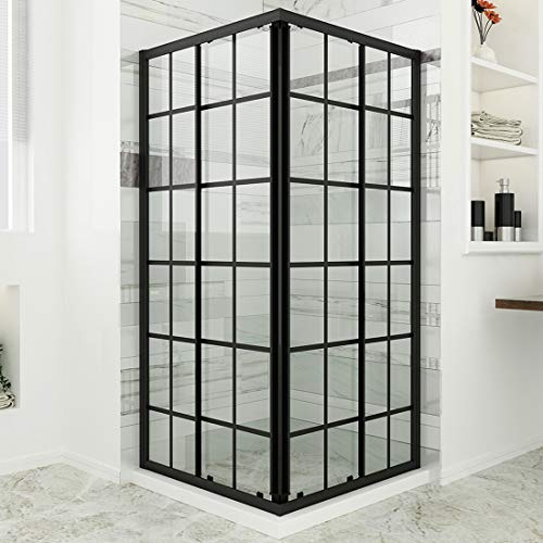 SUNNY SHOWER Double Sliding Shower Door with 1/4