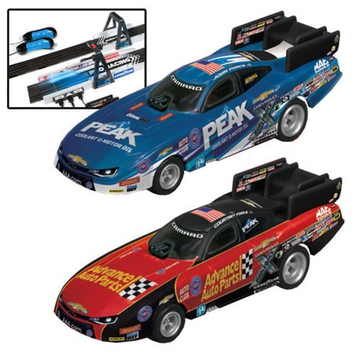 - Auto World NHRA John Force Drag 1:64 Scale Slot Car Set