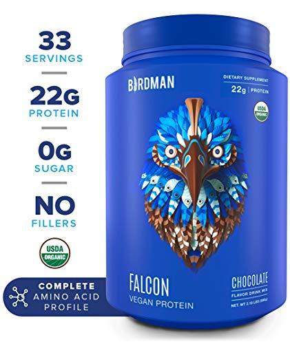 Birdman Falcon Protein, Organic Plant Based Powder 2.18 lb, 33 Servings, Chocolate Flavor, Vegan, Gluten Free, Kosher, Non-GMO, Drink Mix, with Pea and Rice