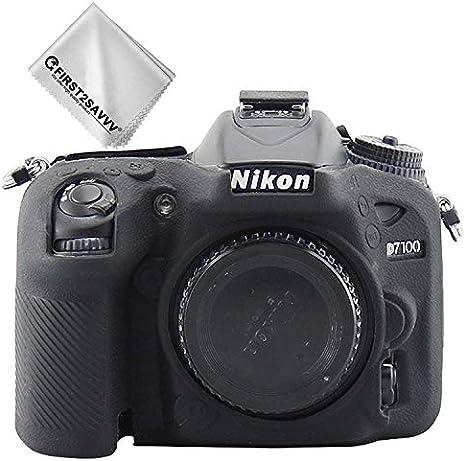 First2savvv Negro Cuerpo Completo Caucho de TPU Funda Estuche Silicona para cámara para Nikon D7200 D7100 XJT-D7200-GJWL-01G11: Amazon.es: Electrónica
