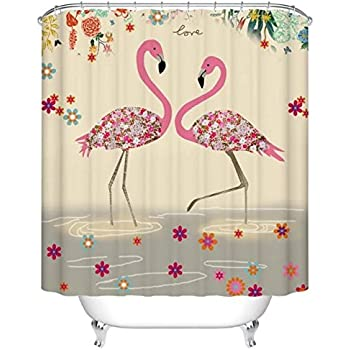 Superbe Flamingos, Printed Polyester Shower Curtain, Shower Curtain, Waterproof  Mouldproof Hook 72 X 72 Inches
