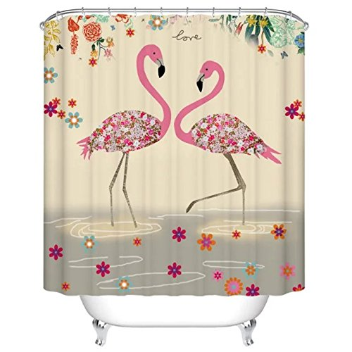 Flamingos, printed polyester shower curtain, shower curtain, waterproof mouldproof hook 72 x 72 inches