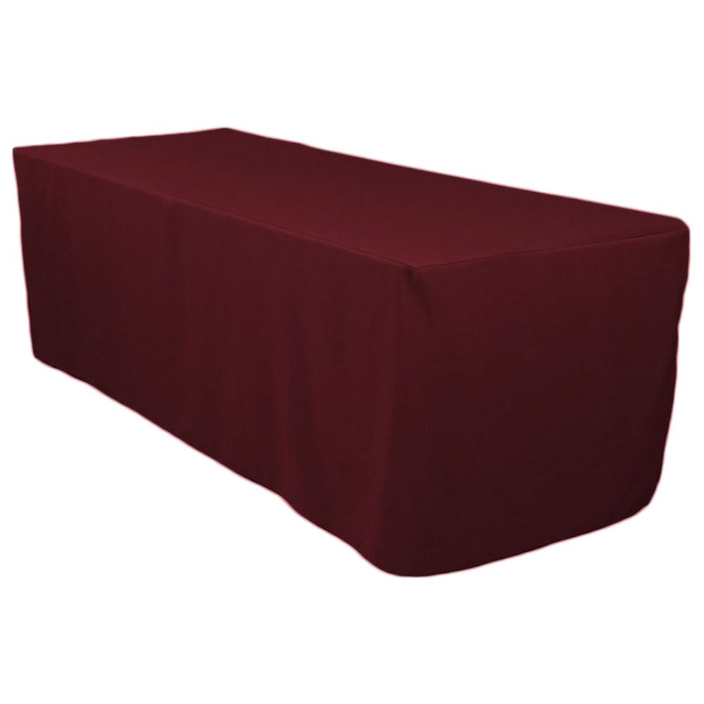 VEEYOO 4 Feet Rectangle Polyester Table Cover Fitted Tablecloth for Wedding Party Banquet, Burgundy