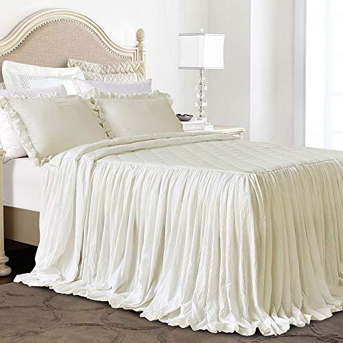 Queen's House Ruffle Skirt Bedspread Ivory Shabby Farmhouse Style Lightweight 3 Piece Set Queen (Bedspread Queen Chenille)