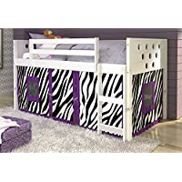 Donco Kids 721803 79 in. Twin Circles Low Loft Bed Zebra Tent, White