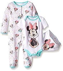 Disney Baby Minnie Mouse 3 Pc Set with Bib, Multi/Mint, 3/6 Months
