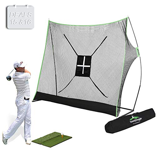 Target Mat - Golf Net Bundle 4pc | Professional Patent Pending Design Golf Practice Net | Dual-Turf Golf Mat, Chipping Target and Carry Bag | The Right Choice of Golf Nets for Backyard Driving & Golf Hitting Nets