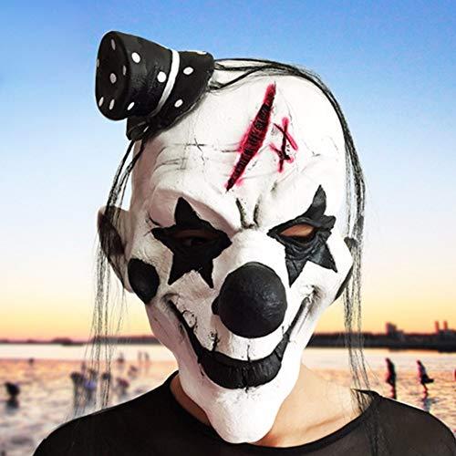 (Costum Clown - Halloween Clown Mask White Black Nose Realistic Party Masquerade Rubber Latex Fancy Dress Cosplay - Nose Latex White Halloween Dress Mask Clown Mask Mask Masks Mask White)